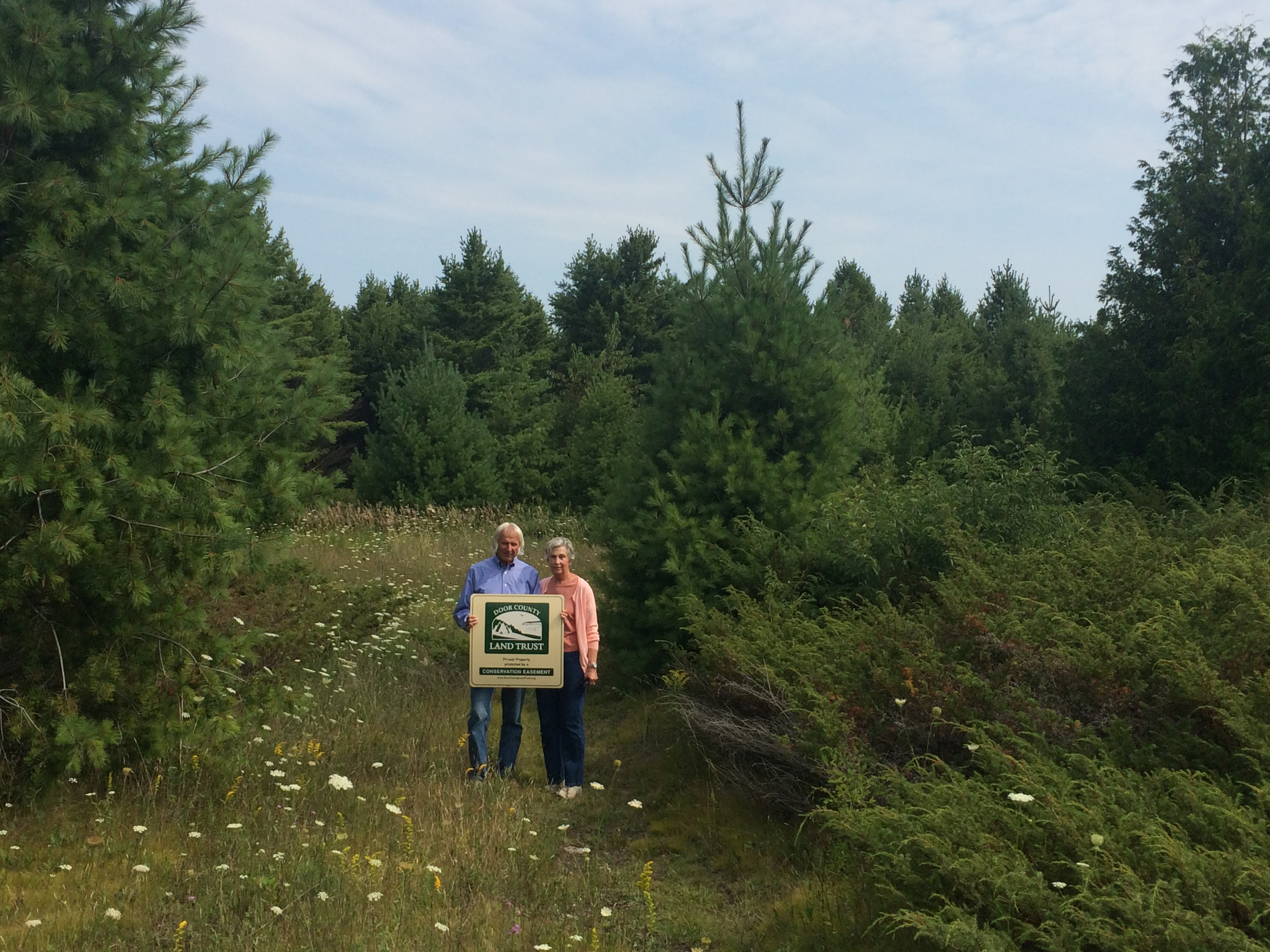 Bruce adn Joan Pikas at their new Conservation Easement near Rowleys Bay.